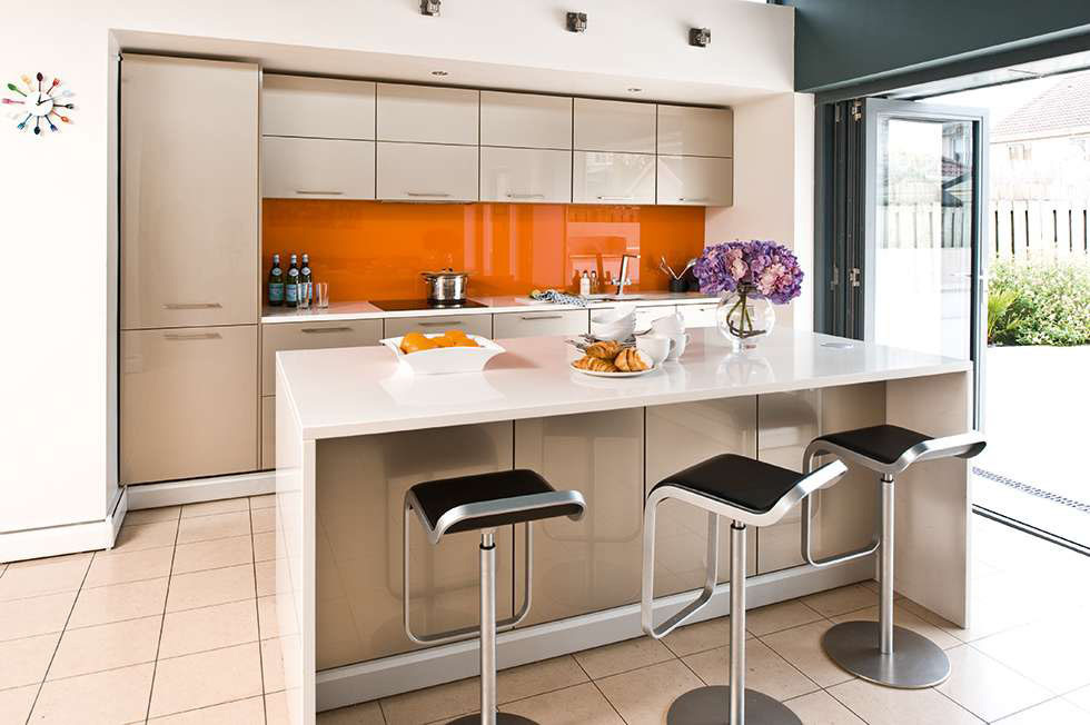 contemporary open plan kitchen for family social