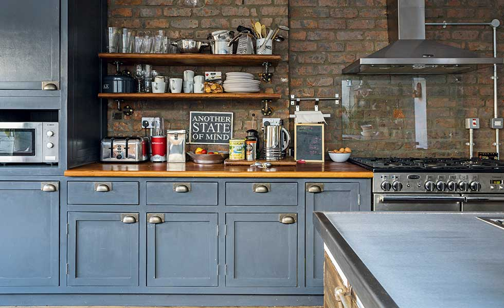 Industrial style renovation of a Victorian terraced home  : anthracite grey kitchen cabinets with exposed brick wall and open shelving from www.realhomesmagazine.co.uk size 980 x 600 jpeg 80kB