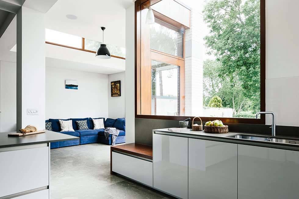 open plan living kitchen and dining area in an architectural kitchen extension