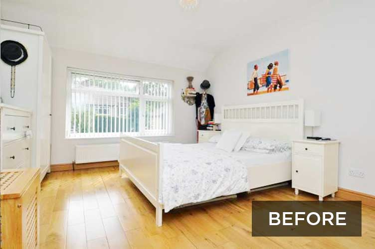 before image of a white bedroom makeover