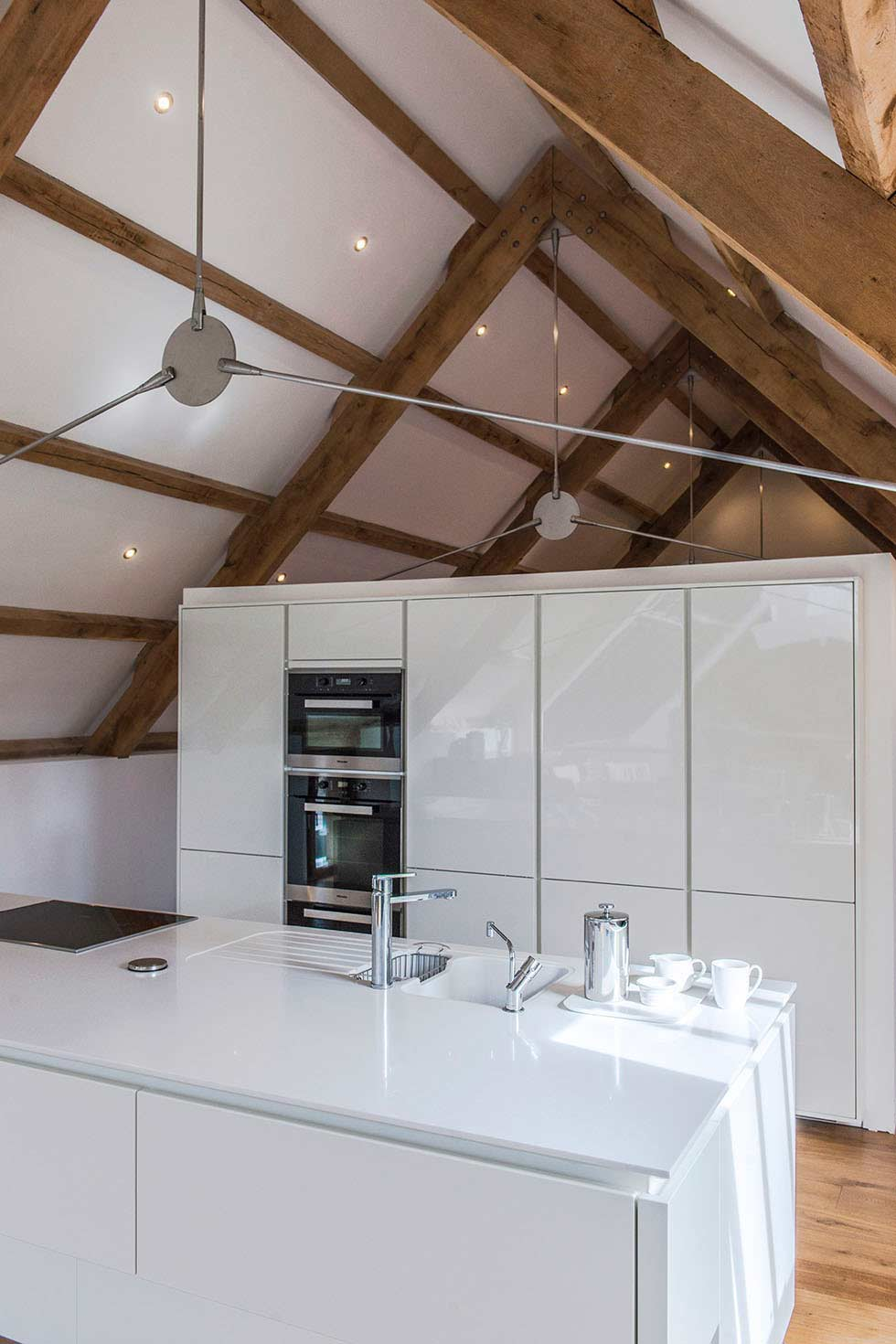 contemporary kitchens in a cornish medieval barn