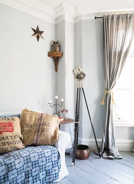 industrial style eclectic living area in a Victorian terraced house