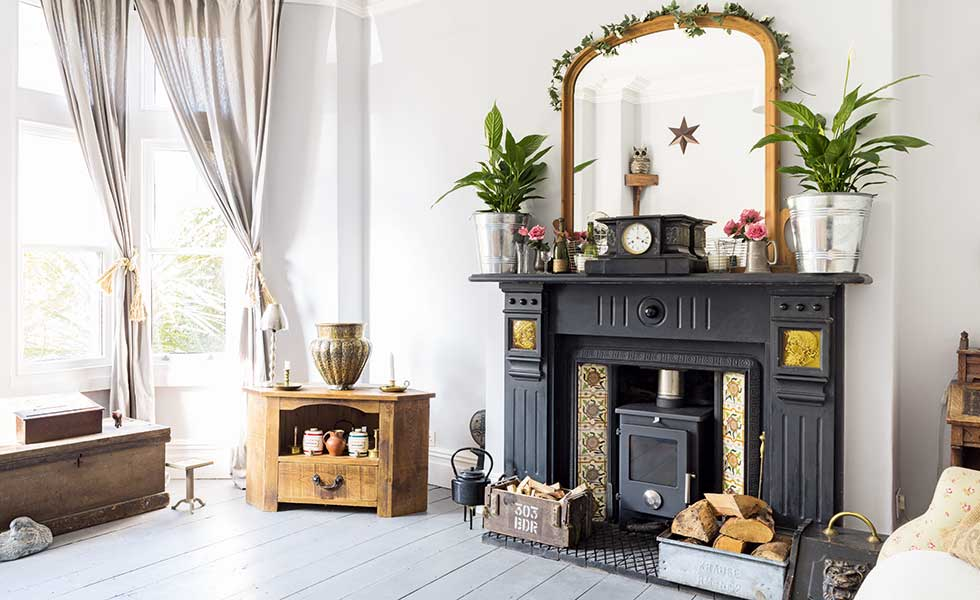 Living room with period features in a Victorian terraced house