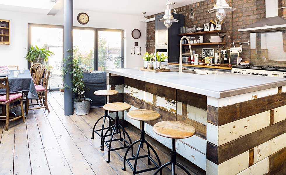 Industrial style kitchen in a Victorian terraced house