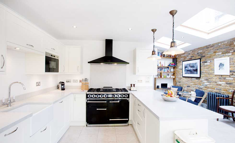 Side return extension to terraced home real homes for Long kitchen wall units