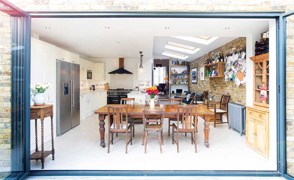 side return kitchen diner extension with industrial style