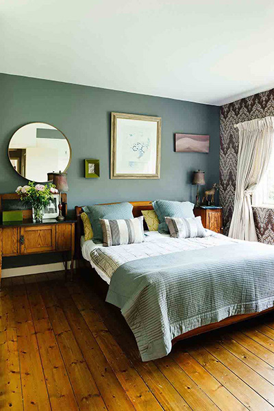 rustic style bedroom in a 1950s bungalow