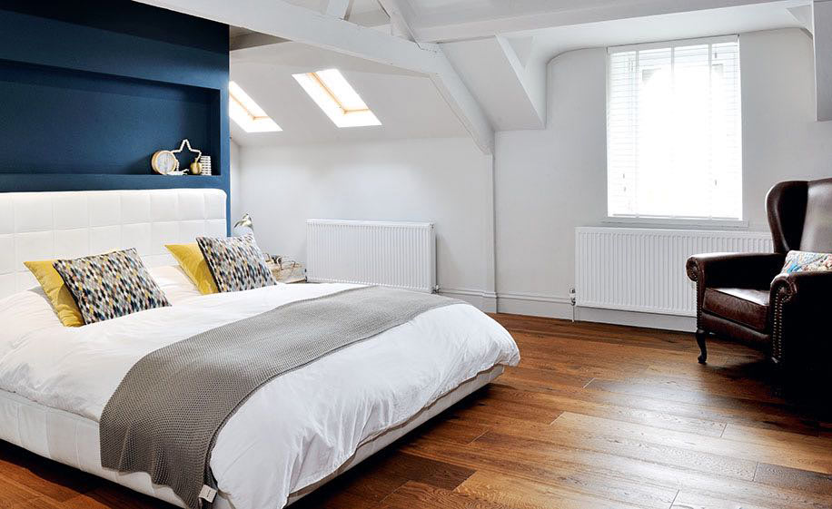 master bedroom in a converted loft