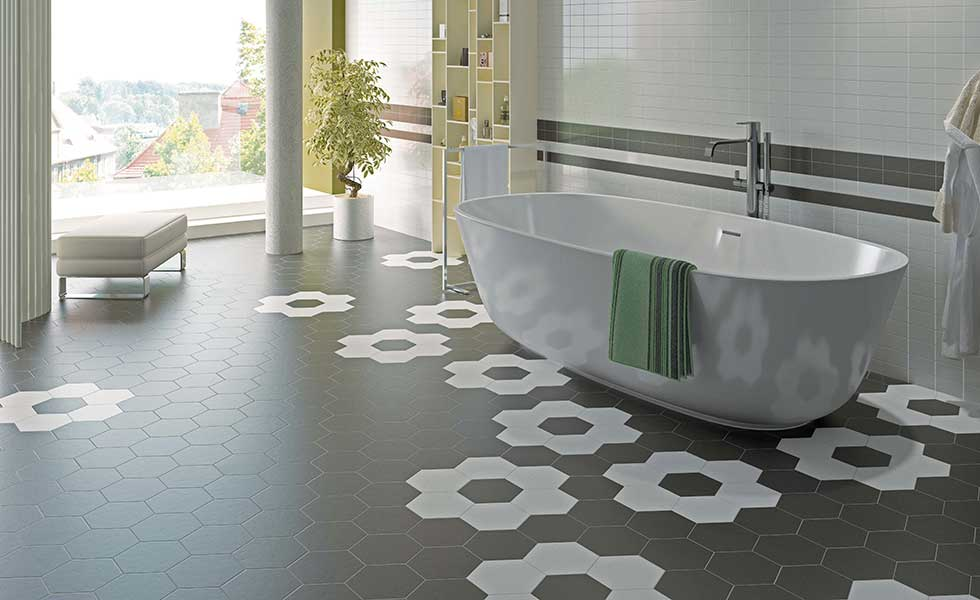 Hexagonal tiles by Baked Tile company