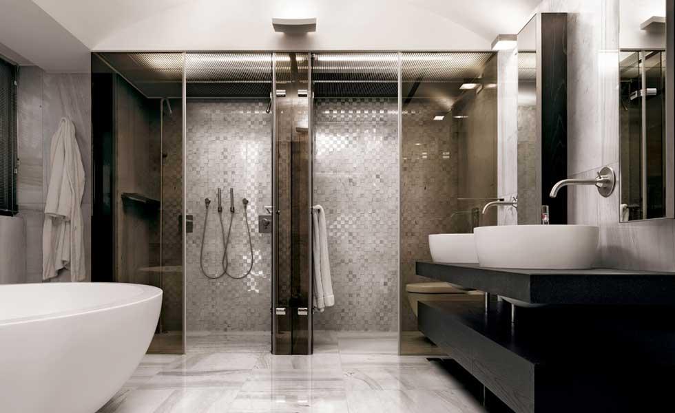 shower and sauna room spa style bathroom