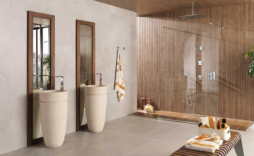 wood and stone waterfall shower spa style bathroom