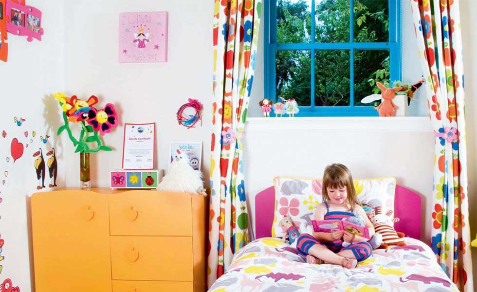 children bedroom with bright prints and patterns