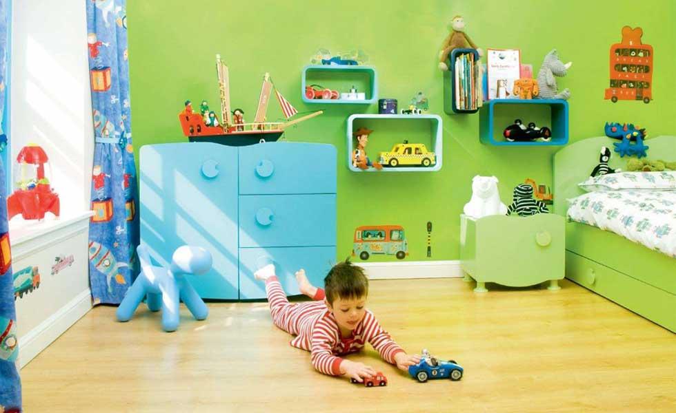 bright green children bedroom