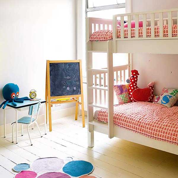 children bedroom with bunkbeds and matching bedding