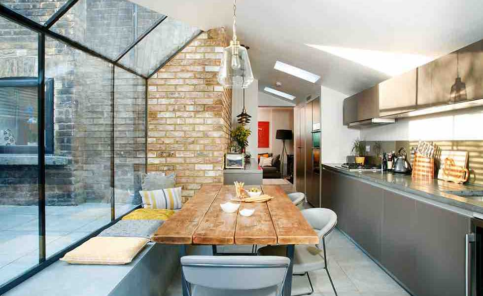 Wonderful Industrial Style Kitchen Attached To Period Property With Large Glass  Extension