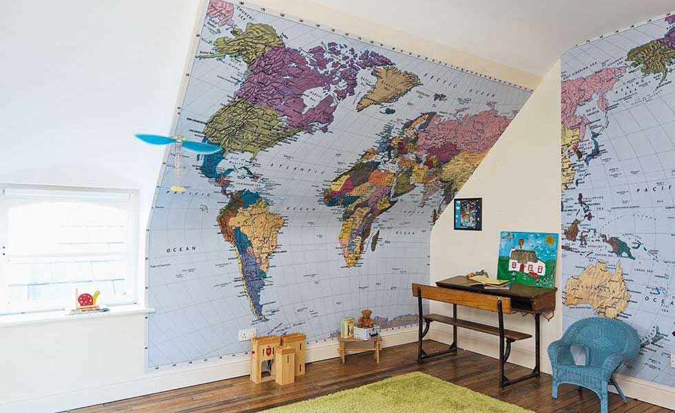 children bedroom with map feature wall
