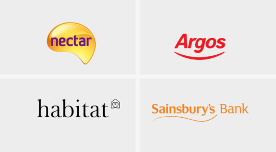 Logos for Nectar, Argos, Habitat, Sainsbury's Bank