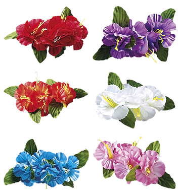 HIBISCUS 4 FLOWER HAIR CLIP - 6 colours