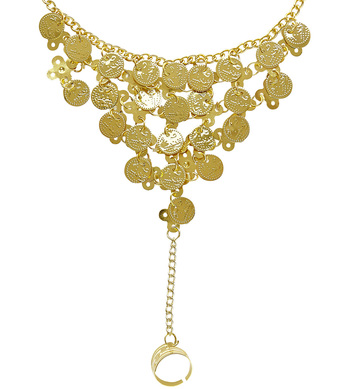 FINGER WRIST GOLD COIN BRACELET