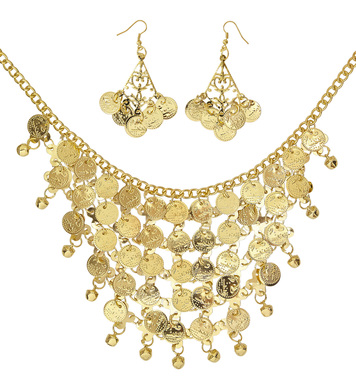 GOLD COIN EARRINGS & NECKLACE