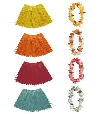 FLOWER LEI & RAFFIA SET - 4 colours
