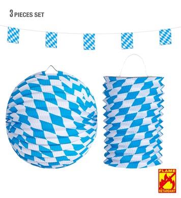BAVARIAN DECOR SET: FLAG GARLAND 4m PAPER BALL 25cm  & LANTE