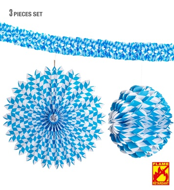 BAVARIAN DECOR SET: PAPER FAN 70cm HONEYCOMB GLOBE 28cm & BO