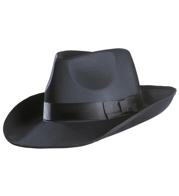 GANGSTER HAT SATIN - BLACK