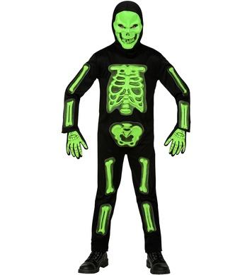 3D SKELETON GREEN (jumpsuit, hooded mask, gloves) Childrens