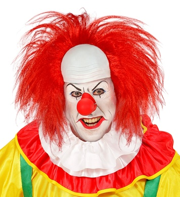 CLOWN HEADPIECE WITH RED HAIR in box