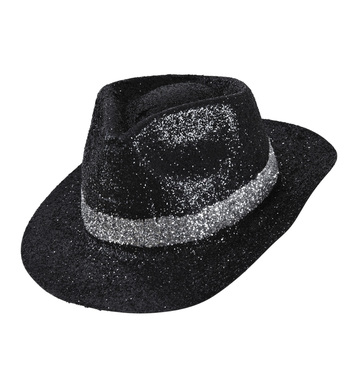 BLACK GLITTER FEDORA WITH SILVER BAND