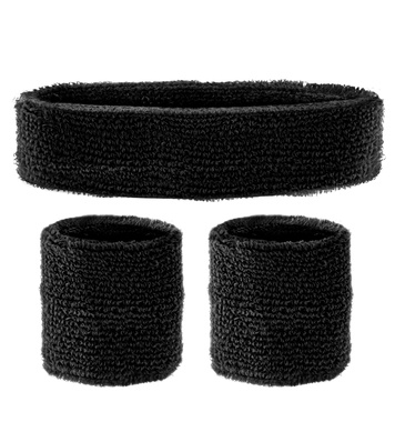 BLACK SWEATBANDS SET (headband and 2 wristbands)