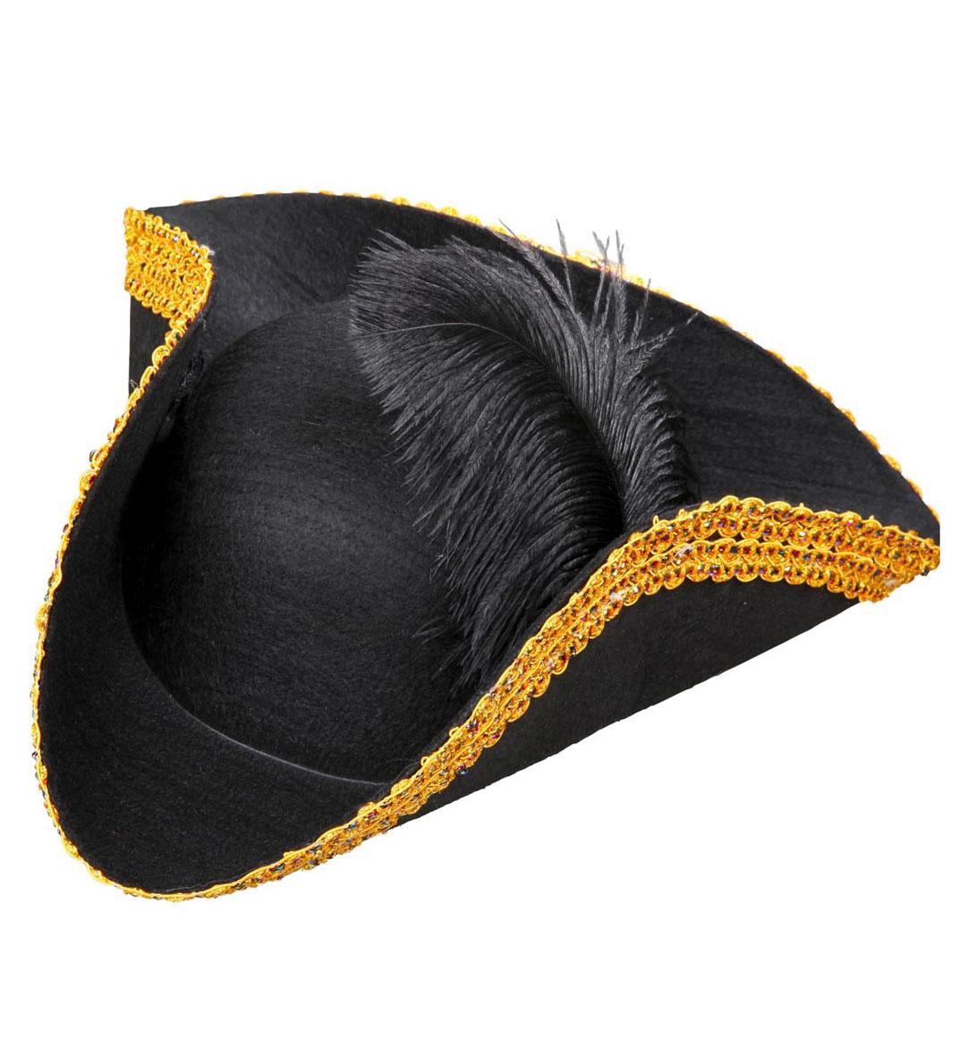 Tricorn Felt with Feather & Tinsel Trim Felt Hat Fancy Dress