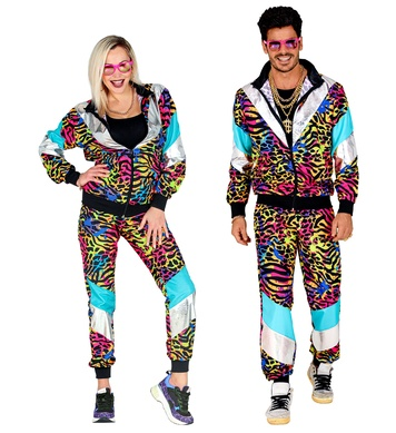 80s PARTY ANIMAL PRINT SHELL SUIT (jacket, pants)