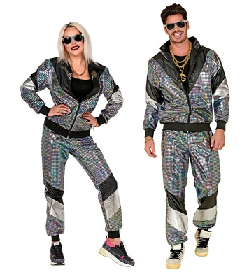 80s MULTICOLOR REFLECTIVE SHELL SUIT (jacket, pants)