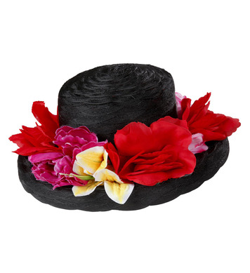 BLACK LADY HAT WITH FLOWERS