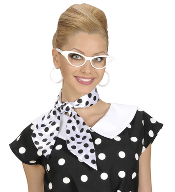 SATIN DOTTED NECK SASHES - WHITE W/BLACK DOTS