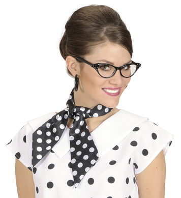 SATIN DOTTED NECK SASHES - BLACK W/WHITE DOTS