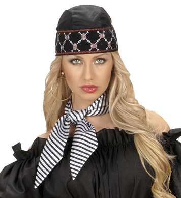 SATIN STRIPED NECK SASHES - WHITE W/BLK STRIPES