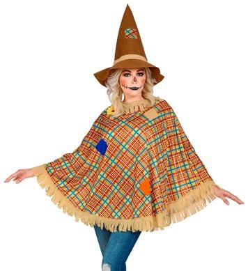 SCARECROW PONCHO ADULT (poncho, hat)
