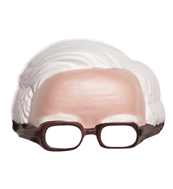 CHINLESS MASK WITH WHITE HAIR & GLASSES