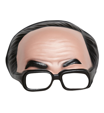 CHINLESS MASK WITH BLACK HAIR & GLASSES