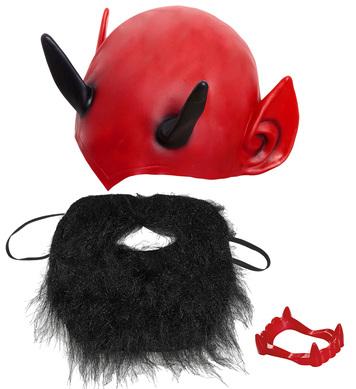 DEVIL DRESS UP SET (headpiece denture beard with moustache)