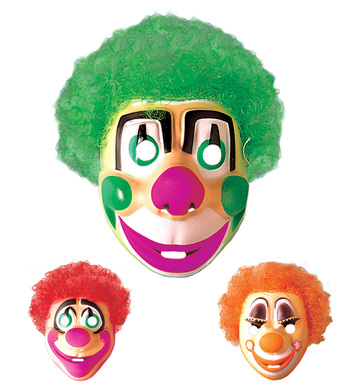 CLOWN MASK W/HAIR - CHILD SIZE - 3 styles