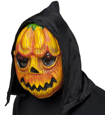 HOODED PVC PUMPKIN MASK