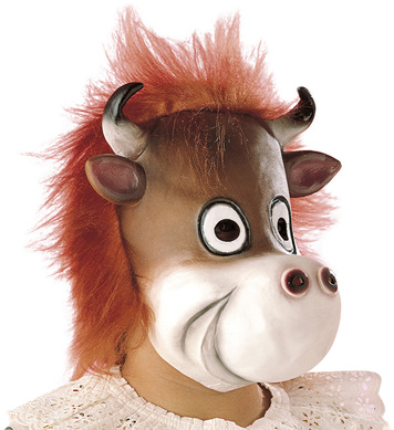 COW MASK WITH PLUSH HAIR