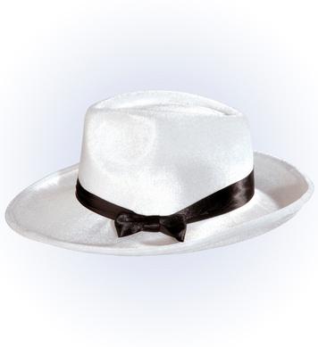 GANGSTER HAT VELVET W/RIBBON - white