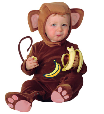 BABY MONKEY COSTUME (1-2yrs/90cm) (jumpsuit headpiece)