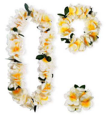 WAIKIKI HAWAIIAN SET DELUXE (lei crown bracelet)
