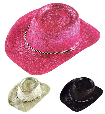 COWBOY HAT GLITTER PVC - 3 colours